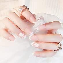 Edary 24pcs French False Nails White Nude Round Medium Press on Fake Nails Full Cover Nails Art for Women