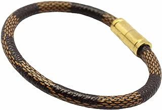 Baoliren Women's Titanium Gold 1 Layer Leather Bracelet Magnetic Clasp 18cm