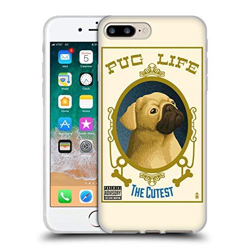 Head Case Designs Licenza Ufficiale Lantern Press Pug Life Collezione Cane Cover in Morbido Gel Compatibile con Apple iPhone 7 Plus/iPhone 8 Plus