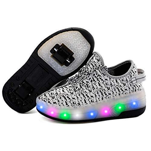 HYJMJJ Zapatos con Ruedas Zapatillas con Dos Ruedas Led Luces Zapatillas con Ruedas Se Puede Bambas con Ruedas Carga con USB Automática Calzado de Skateboarding