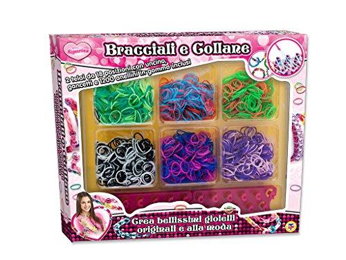Teorema 63957 - Braccialetti e Collane, 1200 Elastici Colorati e 2 Telai