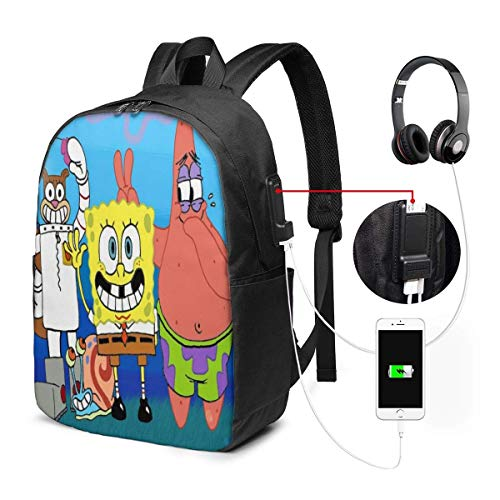 Interesting and Creative Dog Laptop Backpack 17 Inch Business Travel Backpacks for Men Women Adjustable Shoulder Strap with USB Charging Port Black Men's and Women's Casual Hiking