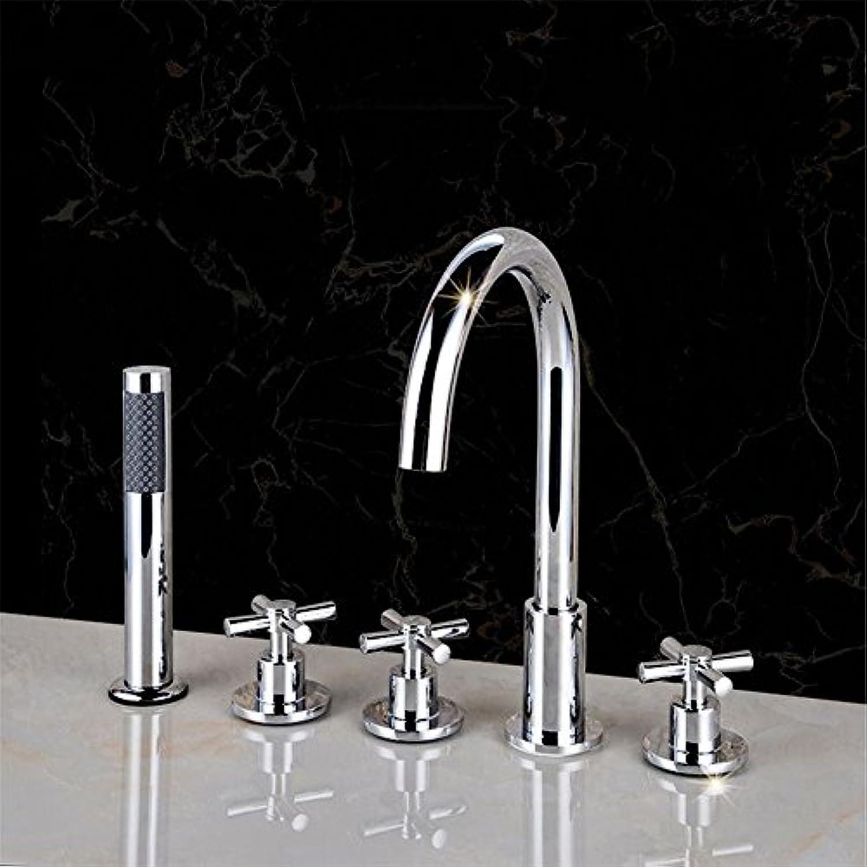 ETERNAL QUALITY Badezimmer Waschbecken Wasserhahn Messing Hahn Waschraum Mischer Mischbatterie Tippen Sie auf Das Kupfer kalt- und 5 Loch Badewanne Armatur, 5-teilig Zyli