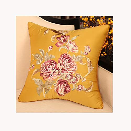 Embroidery Pillow Cushion,Chinese Style,Pp Cotton Filling High Precision Embroidered,Removable Washable,For Living Room Bedroom
