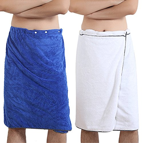 kilofly 2pc Men's Adjustable Shower Wrap Bath Towel with Snap Closure 27 x 55 inch