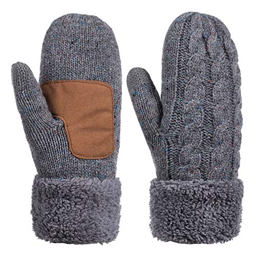 Winter Wool Mitten Gloves For Women, Warm Knit Touchscreen Thermal Cable Gloves With Thick Fleece Lining (Confetti Gray)