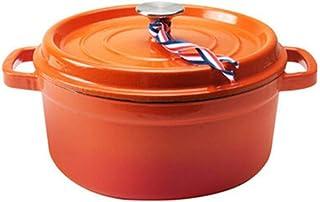 HEWEI Cast Iron cookware Dutch Oven Casserole with lid Non-Stick Enamel Coating-Orange_Capacity 3.8 l