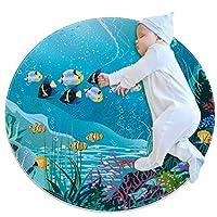 エリアラグ軽量 水生植物と熱帯魚 フロアマットソフトカーペット直径31.5インチホームリビングダイニングルームベッドルーム