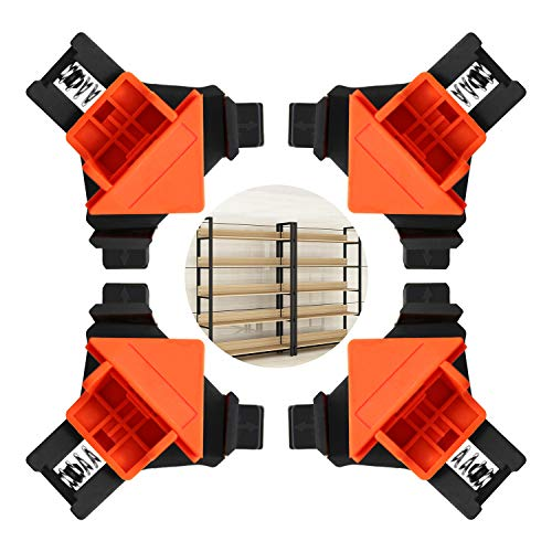 90 Degree Right Angle Clamps, 4 PCS Angle Fixing Clips Adjustable Corner Clamp for Welding, Woodworking, Cabinet and Furniture Repair Connection, Wood Boxes, Drawers, Photo Frames, Crafting Projects