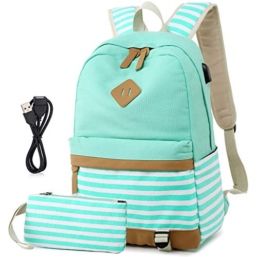 Canvas Backpack College Laptop Backpack with USB Casual Travel Daypack for Women Teen Girls School Bookbag(2 in 1 Green Set)