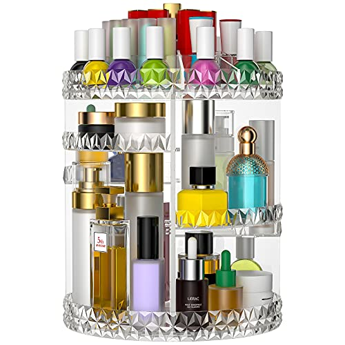 Makeup Organizer, 360 Degree Quiet Rotating DIY Adjustable Perfume Storage Rack Cosmetic Storage Display Case with Large Capacity, Fits Jewelry, Makeup Brushes, Lipsticks and More, Clear Transparent…