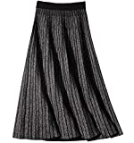 CHARTOU Women's Winter Reversible Stretchy Waist Knitted A Line Pleated Midi Skirt (Medium, Grey)