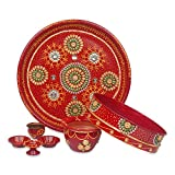 IndoTribe 6pc karwachauth thali Set karvachauth thali Set karwa chauth Pooja thali karva chauth Set Diwali Decorations Diwali Gifts Indian Decor Diwali Diya Pooja thali puja Items thali Set (Style1)