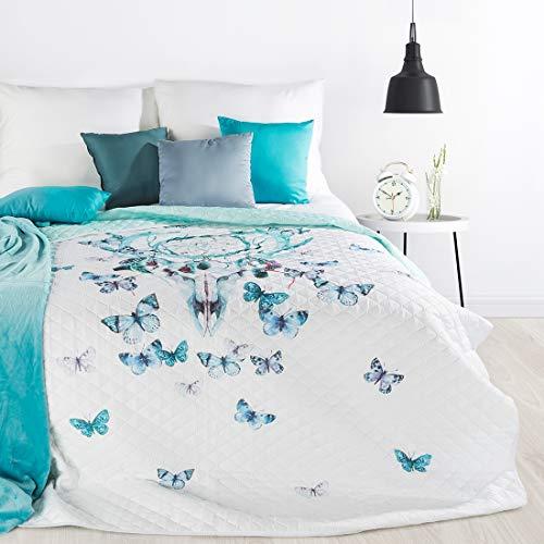 Design91 Sprei Indianen dromenvanger patroon quilt bed sprei vlies vlinders Grootte: 200 cm x 220 cm en 170 x 210 cm Modern design slaapkamer wit blauw kleuren (200 x 220 m)