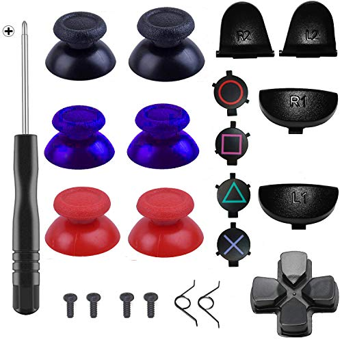 Yosikr Pairs Thumbsticks Joystick for Playstation 4 PS4 Controller with Cross Screwdriver + L2 R2 L1 R1 Trigger Replacement Parts + ABXY Bullet Buttons + D-pad + Small Spring