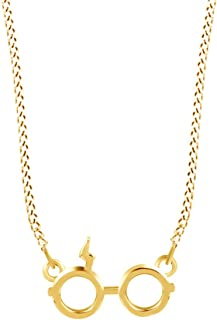Jewel Zone US Harry Potter Glasses Charm Pendant Necklace in Gold Over Sterling Silver