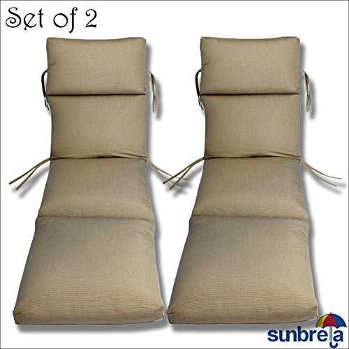 Comfort Classics Inc. Set of 2-22x74x5 Sunbrella Indoor/Outdoor Fabrics in Taupe Rib CHANNELED Chaise Cushion
