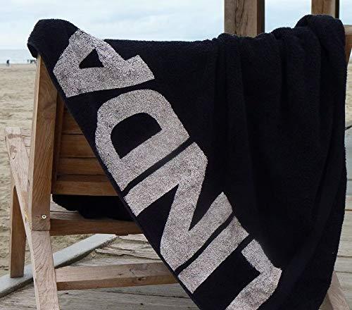 S< Strandtuch mit Name - personalisierte Bedrucking - XXL Saunatuch - Strandtuch 100x200 aus Baumwolle (Schwarz)