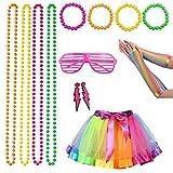 80er Jahre Kostüm für Damen Erwachsene, 1980er Jahre Neon Kostümzubehör Schmuck mit Ohrringen...