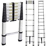 SogesHome Telescoping Ladder 12.5ft Aluminum Ladder Telescopic Extension Ladder12 Steps Extendable with Spring Loaded Locking Mechanism Non-Slip Ribbing EN131 Certified, JF-001-SH