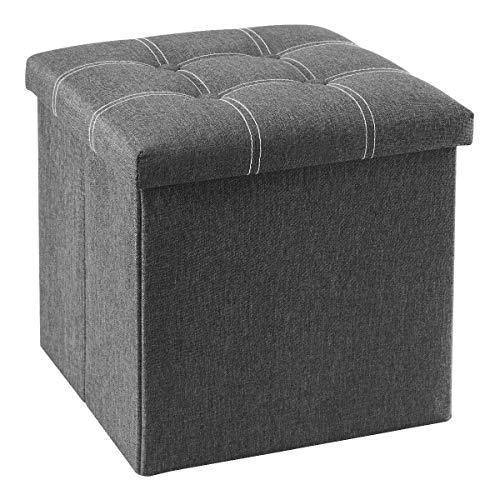 YOUDENOVA Aufbewahrungsbox Sitzbank mit Stauraum Sitzhocker Sitztruhe Fußbank Faltbar Leinenimitat Ottoman 38x38x38 Grau
