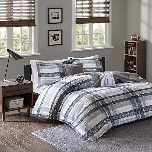 Intelligent Design Cozy Comforter Casual Cabin Lodge Plaid Design, Twin/Twin XL, Black