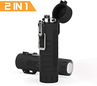 LIANTRAL Electric Arc Lighter, 2-in-1 Windproof Flameless Lighter Plasma Lighter with LED Flashlight for Fire, Candle - Outdoors Indoors (Black - Flashlight)