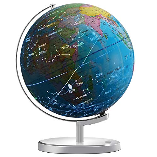 """Illuminated Spinning World Globe for Kids, KingSo 12"""" Diameter 3 in 1 World Globe dispiay Nightlight, Earth Globe with Heavy Duty Stand for Kids