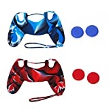 WINOMO Remote Controller Protector 2 Sets Replacement Soft Silicone Protective Skin Case Covers and Joystick Thumbstick Caps for Sony PlayStation 4 PS4 Controller (Blue+Red)