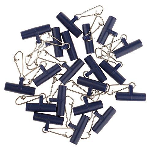 Sharplace 20Pcs Zip Slider Hochfeste Fishing Line Sinker Slider Slides mit Hakenverschluss - Blau, S