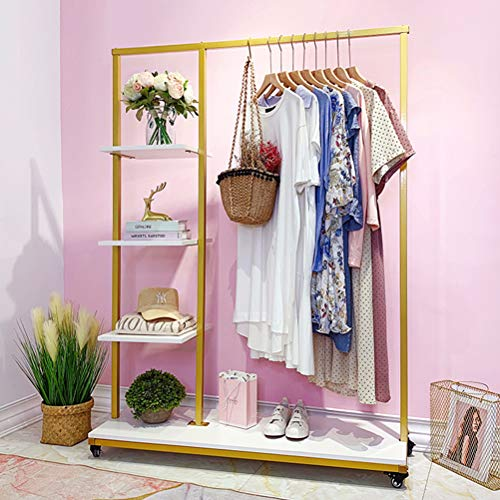 """Metal Clothes Garment Racks with 4 Wood Storage Shelves and Hanging Bar Heavy Duty Free Standing Clothing Rack Large Closet Organizer for Boutique 47"""""""
