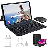 Tablet 10 Inch, Android 10.0 Pie Tablets with Wireless Keyboard Case and Mouse, 4GB RAM 64GB ROM, Quad Core, Google GMS Certified, IPS HD Display, 8MP Dual Camera, Dual 4G SIM, 8000mAh, WiFi - Black