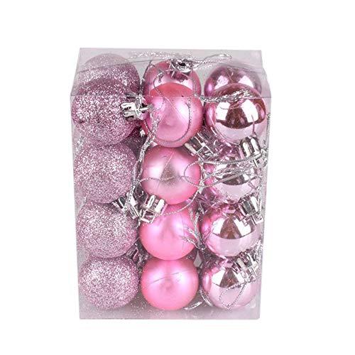 24pcs Mini Christmas Ball 3cm Ornaments Shatterproof Christmas Decorations Tree Balls Pink Pastel Tree Ornaments Pendant (1.18 inch 24pcs Pink)