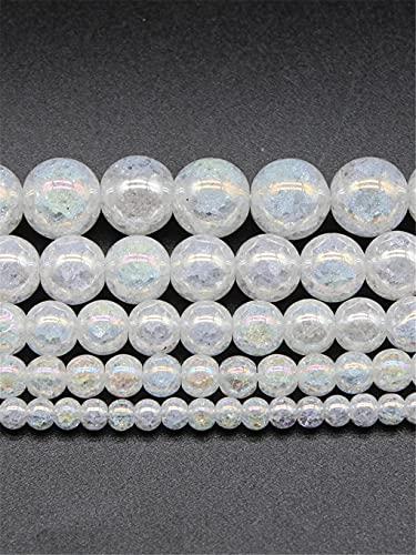 Piedra natural blanca AB color agrietado cristales de cuarzo arcoíris chapado en perlas para pulsera y collar de hazlo tú mismo, 15 pulgadas, arco iris, 10 mm aprox. 38 cuentas