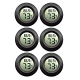 JEDEW 6-Pack Mini Hygrometer Gauge Indoor/Outdoor Thermometer, Digital Humidity Temperature Meter for Humidifiers Dehumidifiers Greenhouse Reptile Plant Humidor Cigar, Fahrenheit(℉) or Celsiu(℃)