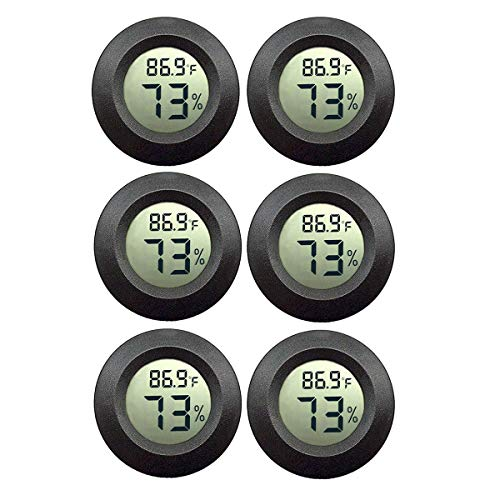 JEDEW 6-Pack Mini Hygrometer Gauge Indoor/Outdoor Thermometer, Digital Humidity Temperature Meter for Humidifiers Dehumidifiers Greenhouse Reptile Plant Humidor, Fahrenheit(℉) or Celsiu(℃)
