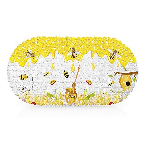 Chickwin Saugnäpfe Anti-Rutsch-Duschmatten, Badezimmer Dusche rutschfest, Badematte Rutschmatte Duscheinlage für Anti-Schimmel Antibakteriell Badewanneneinlage (69x35cm,Gelbe Biene)