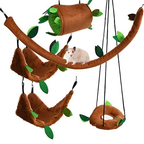 DODUOS 5-Teiliges Kleintier Hängebette Haustier Hängematte Schaukel Spielzeug Set Wald Thema Hängematte für Hamster Meerschweinchen Chinchilla Vogel Eichhörnchen Kaninchen