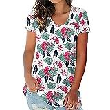 PRJN Camisetas de Manga Corta con Cuello en V para Mujer Tops de túnica con Estampado Floral Camisetas de Verano para Mujer Camisetas de Verano Estampadas Camiseta de Manga Corta con Cuello en V