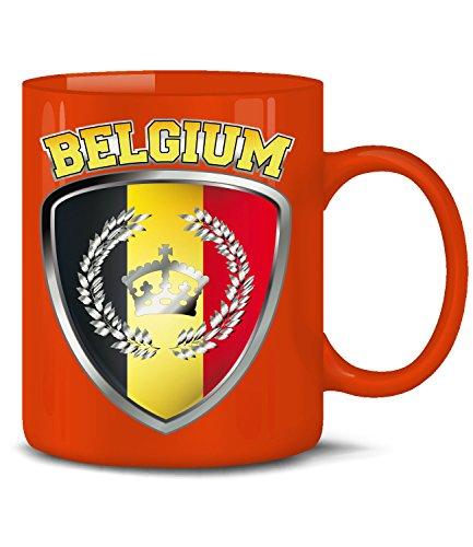 Golebros Belgien Belgium Belgique Fan Artikel 3327 Fuss Ball Welt Europa Meisterschaft EM 2020 WM 2022 Kaffee Tasse Becher Geschenk Ideen Fahne Flagge Rot