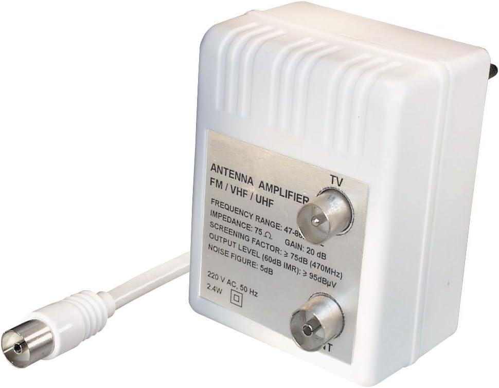 Transmedia FP9IL - Amplificador de señal de antena para 2 televisores (amplificación de 2 x 15 dB, radio de frecuencia de 47-862 MHz) (importado)