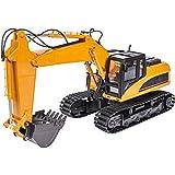 Carson 500907332-Excavadora Oruga (1:16, 15 Canales, 2,4 G RTR, vehículo teledirigido, con Funciones de luz y Sonido Realista, Incluye Pilas y Control Remoto, 500907332), Color Amarillo