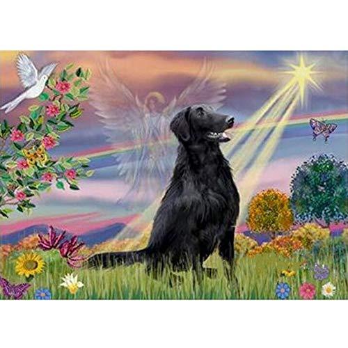 MOL Home Decor 5D Cairn Terrier engel mozaïek intero afbeelding enkele afbeelding strass Europa hond zwart en engel 30x40cm /12x16in