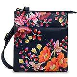Anuschka Damen Handbemalte Leder RFID Blockende Handtasche – Einheitsgröße – Moonlit Meadow