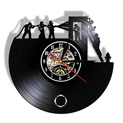 Fuego reloj de arte de pared bombero disco de vinilo vintage reloj de pared camión de bomberos reloj de cronometraje departamento de bomberos colgante de pared decoración bombero regalo - Sin LED