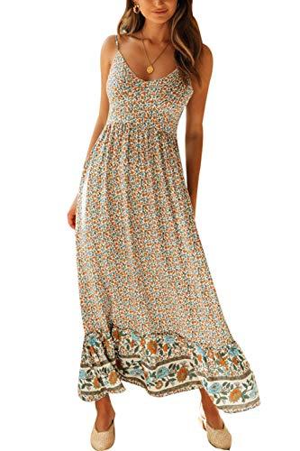 Zilcremo Damen Sommerkleider Böhmisch Kleid V Hals Cami Blumenkleid Strandkleid Lang Kleider MaxiKleid Cocktailkleid Gelb M