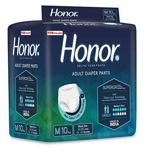 Honor Adult Diaper Pants, Medium - 10 Count (65-85 cms | 24-33 inches)