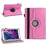 NAUC Hülle für Medion Lifetab P8502 Tablet Tasche Schutzhülle Cover Hülle 360° Drehbar, Farben:Pink