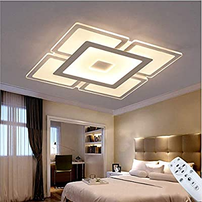 Ladiqi Modern LED Flush Mount Lighting Fixture Nordic Ultrathin Close to Ceiling Light Indoor Square Acrylic Chandelier for Living Room Bedroom Dining Room
