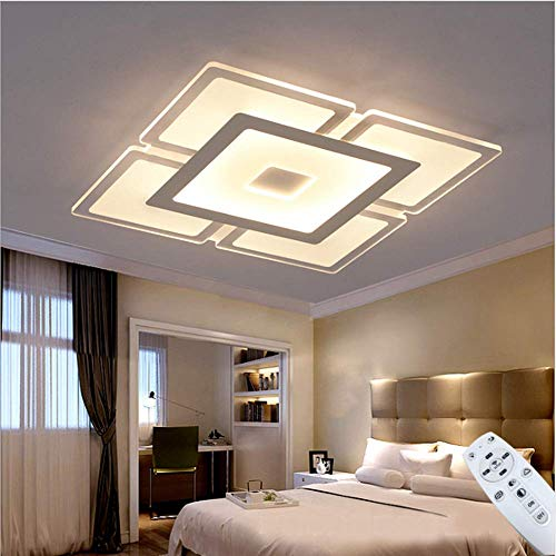 Ladiqi Dimmable Modern LED Chandelier Square Acrylic Flush Mount Ceiling Lighting Fixture Nordic Ultrathin Close to Ceiling Light for Bedroom Living Room Dining Room (Stepless Dimming, 23.5'')